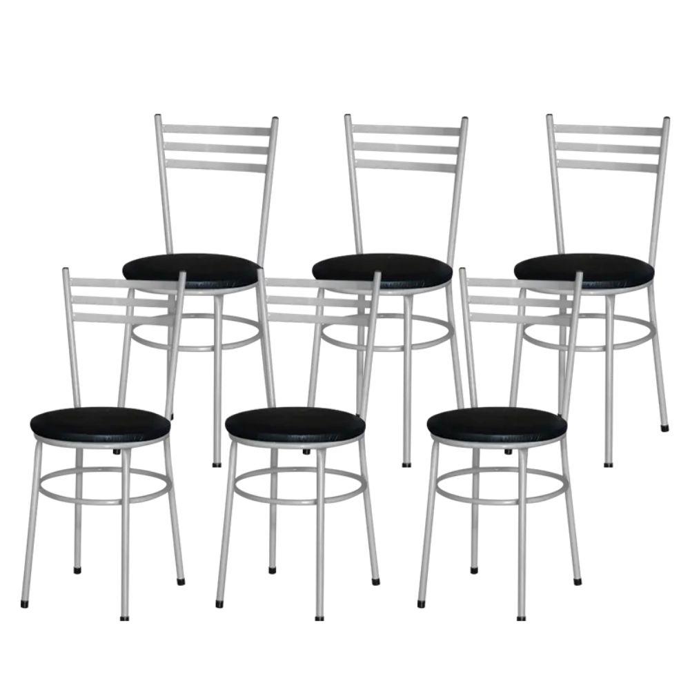 Jogo 6 Cadeiras Para Cozinha Epoxi Cinza