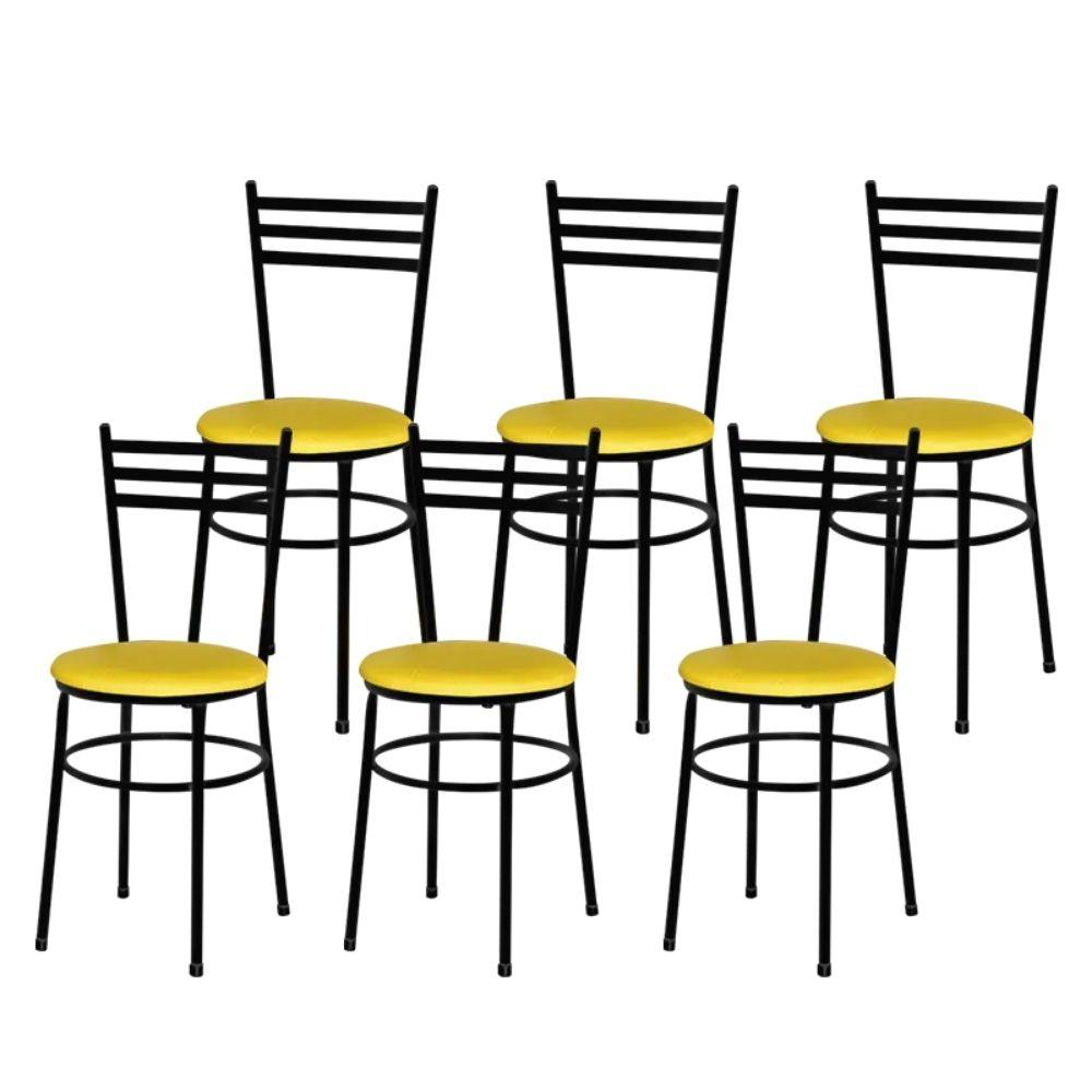 Jogo 6 Cadeiras Para Cozinha Epoxi Preta