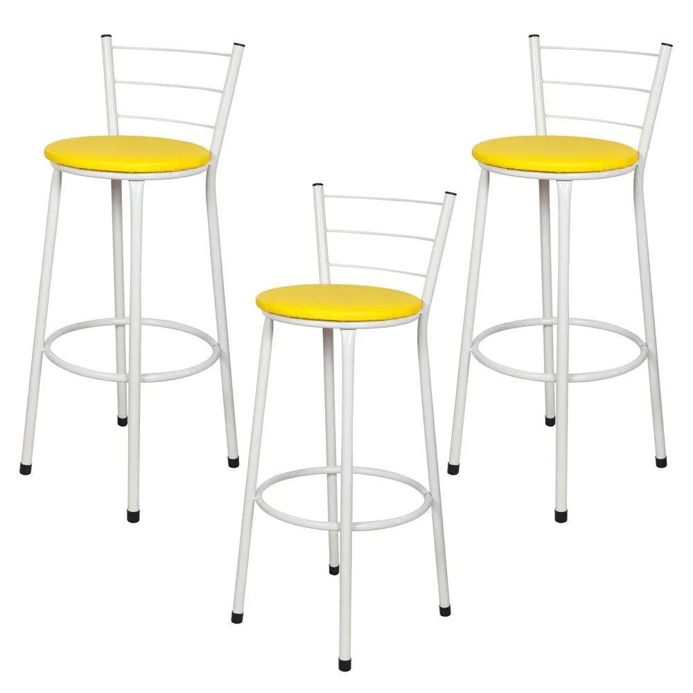 Jogo 3 Banqueta Alta Para Cozinha Branca Epoxi Assento Amarelo