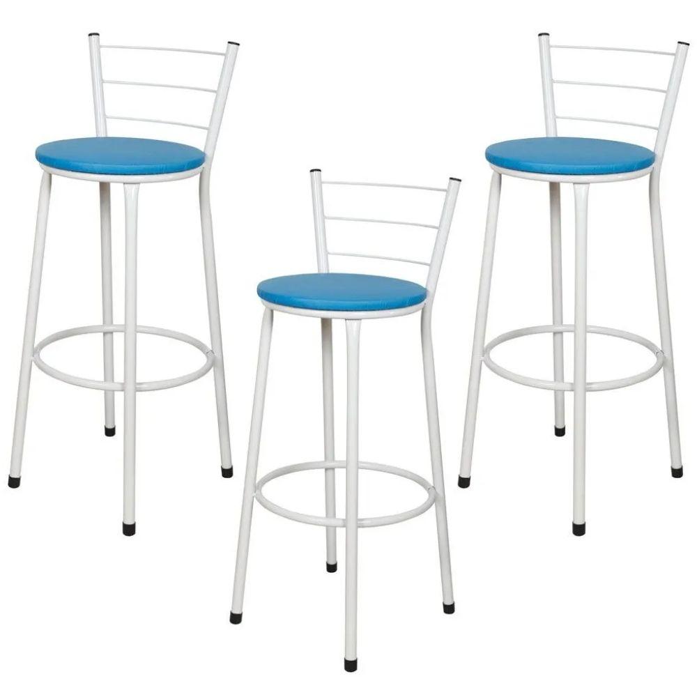 Jogo 3 Banqueta Alta Para Cozinha Branca Epoxi Assento Azul