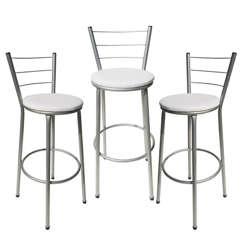 Jogo 3 Banqueta Alta Para Cozinha Cinza Epoxi Assento Branco