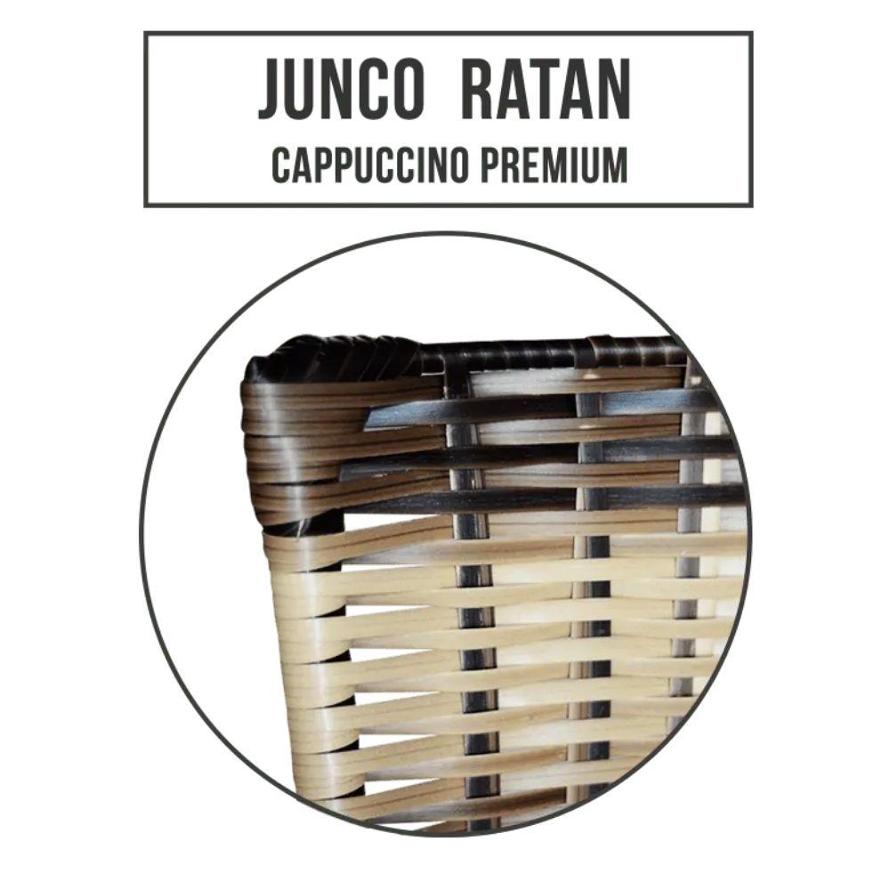Jogo 4 Banqueta Alta Ratan Hawai Preta Cappuccino Premium