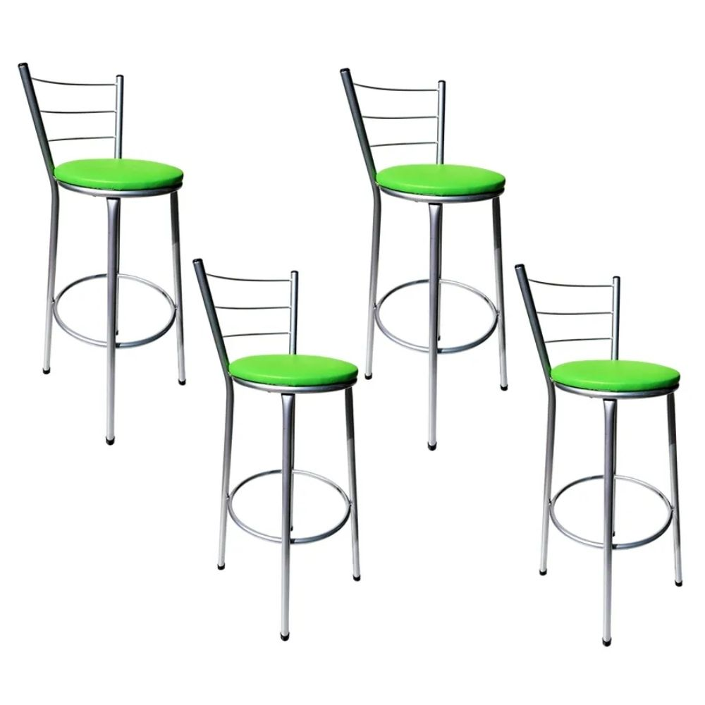 Jogo 4 Banqueta Alta Para Cozinha Cinza Epoxi Assento Verde