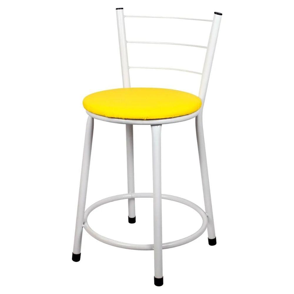 Jogo 4 Banqueta Baixa Para Cozinha Branca Assento Amarelo