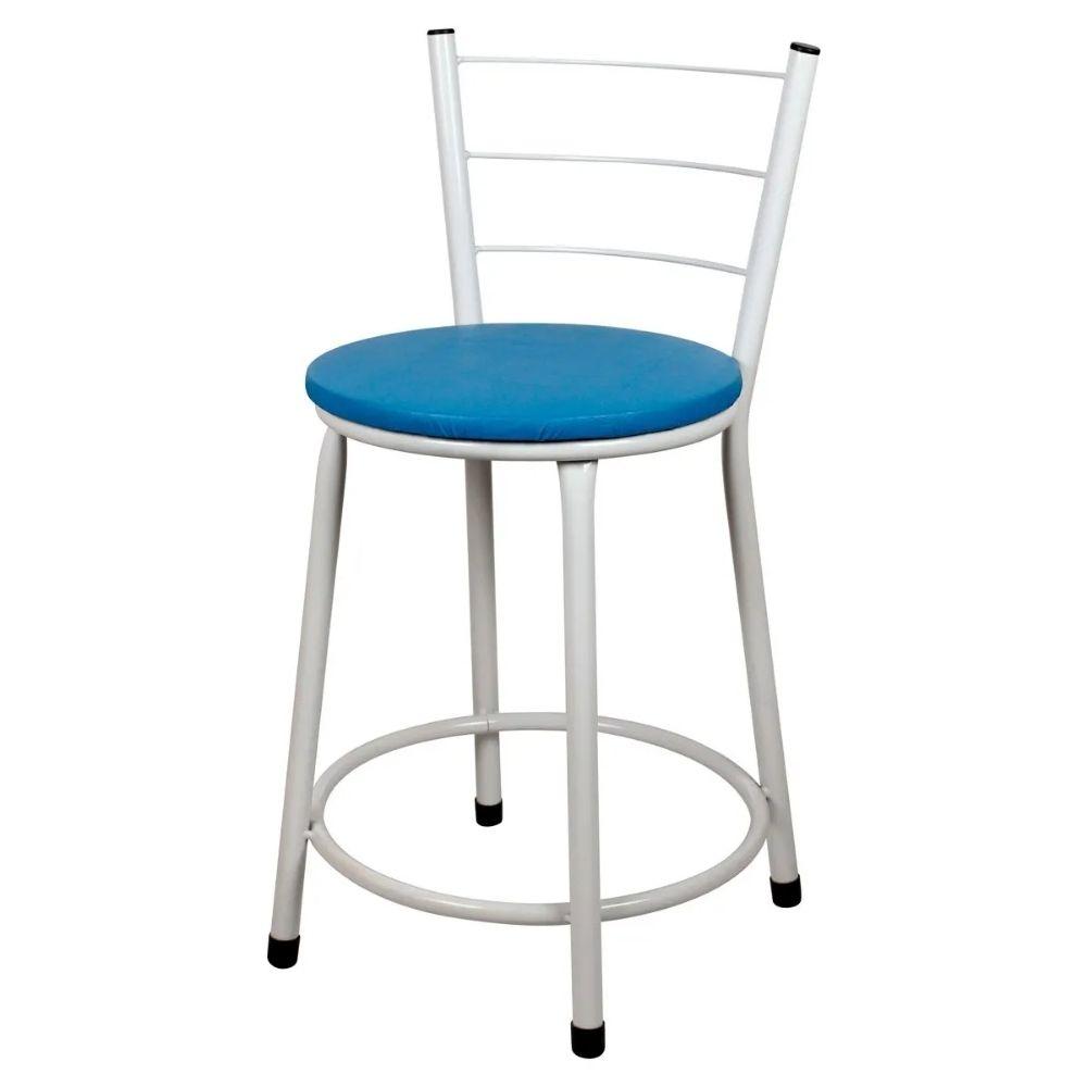 Jogo 4 Banqueta Baixa Para Cozinha Branca Assento Azul
