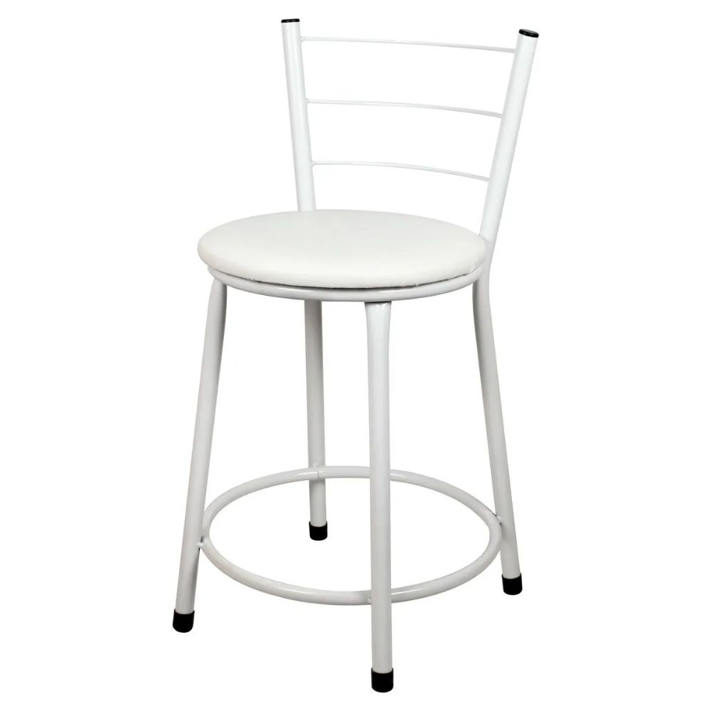 Jogo 4 Banqueta Baixa Para Cozinha Branca Assento Branco