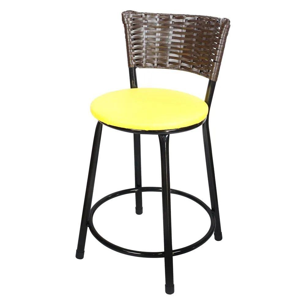 Jogo 4 Banqueta Baixa Para Cozinha Hawai Café Assento Amarelo