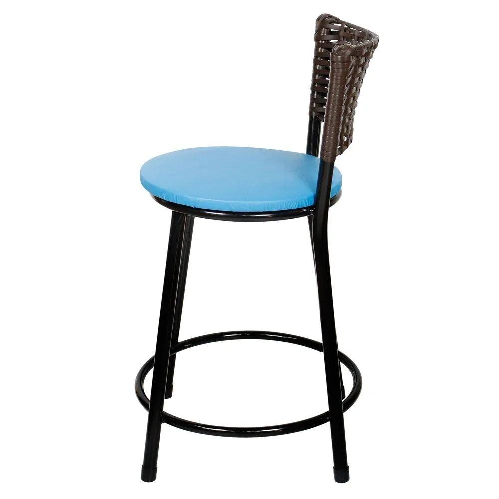 Jogo 4 Banqueta Baixa Para Cozinha Hawai Café Assento Azul