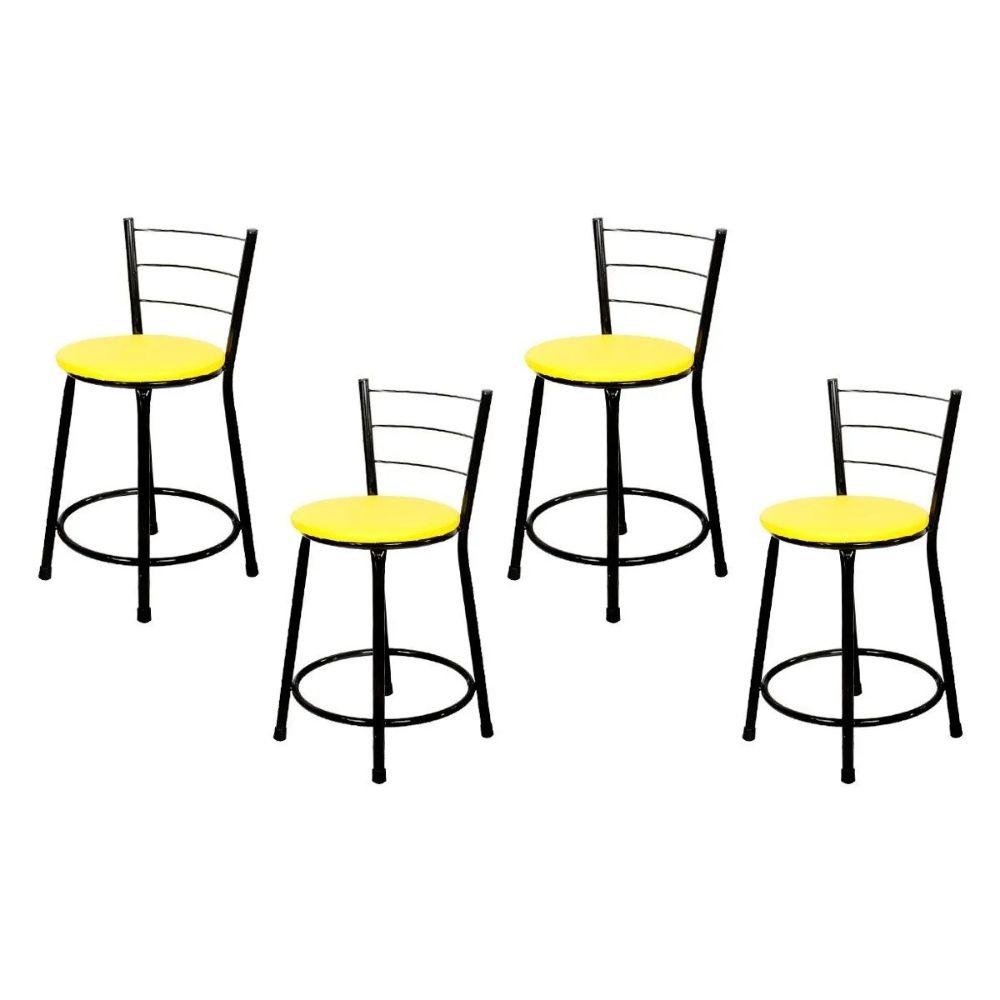 Jogo 4 Banqueta Baixa Para Cozinha Preta Assento Amarelo