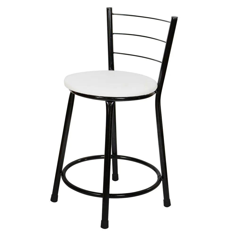 Jogo 4 Banqueta Baixa Para Cozinha Preta Assento Branco