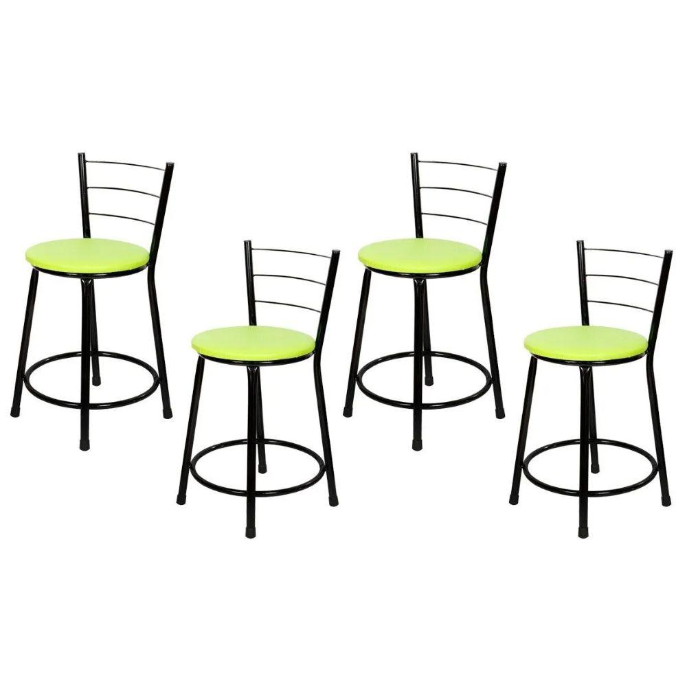 Jogo 4 Banqueta Baixa Para Cozinha Preta Assento Verde