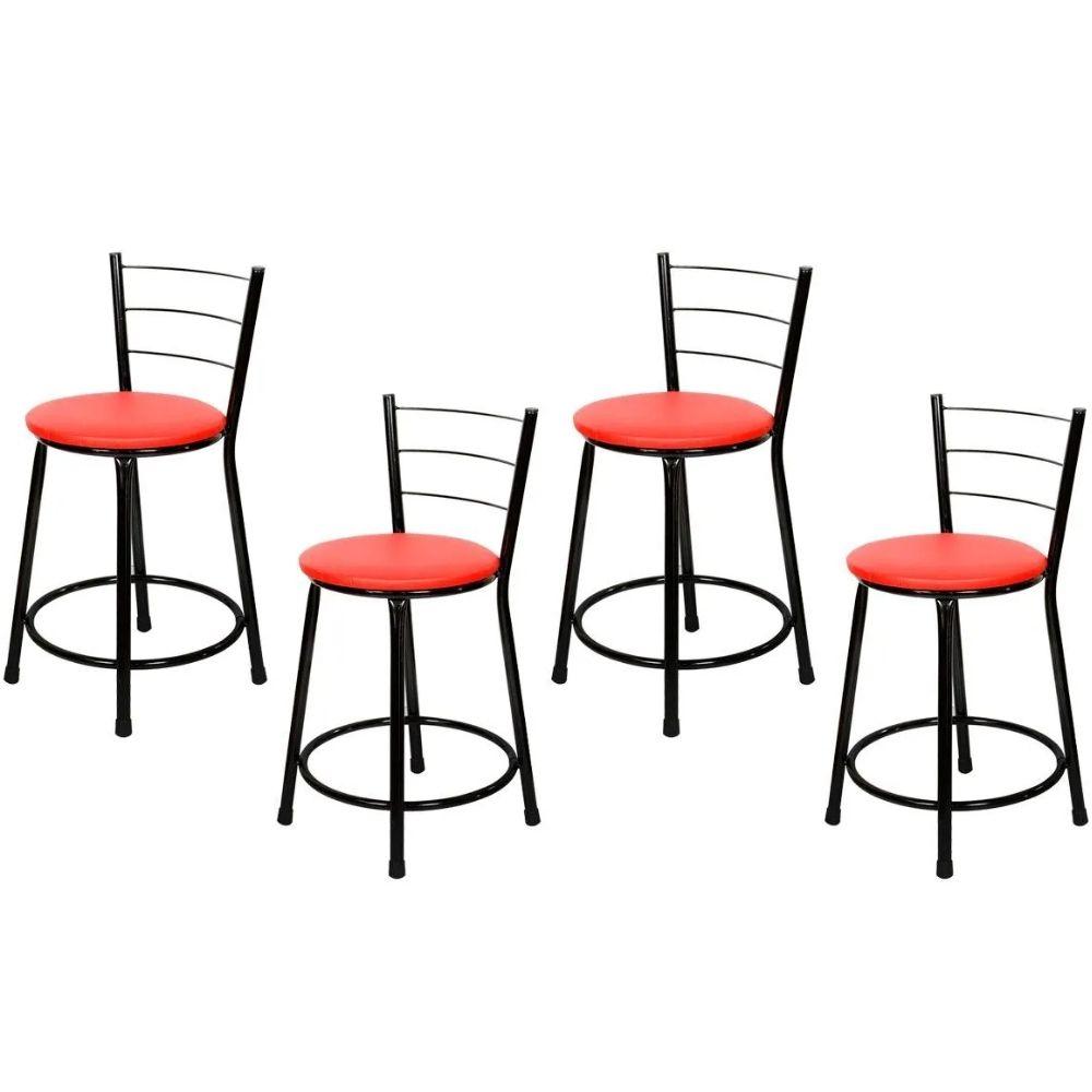 Jogo 4 Banqueta Baixa Para Cozinha Preta Assento Vermelho