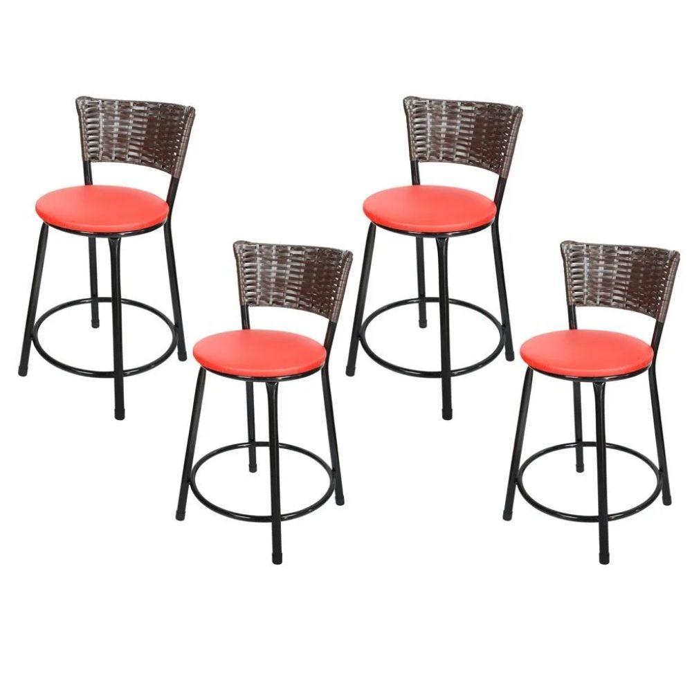 Jogo 4 Banqueta Baixa Para Cozinha Hawai Café Assento Vermelho