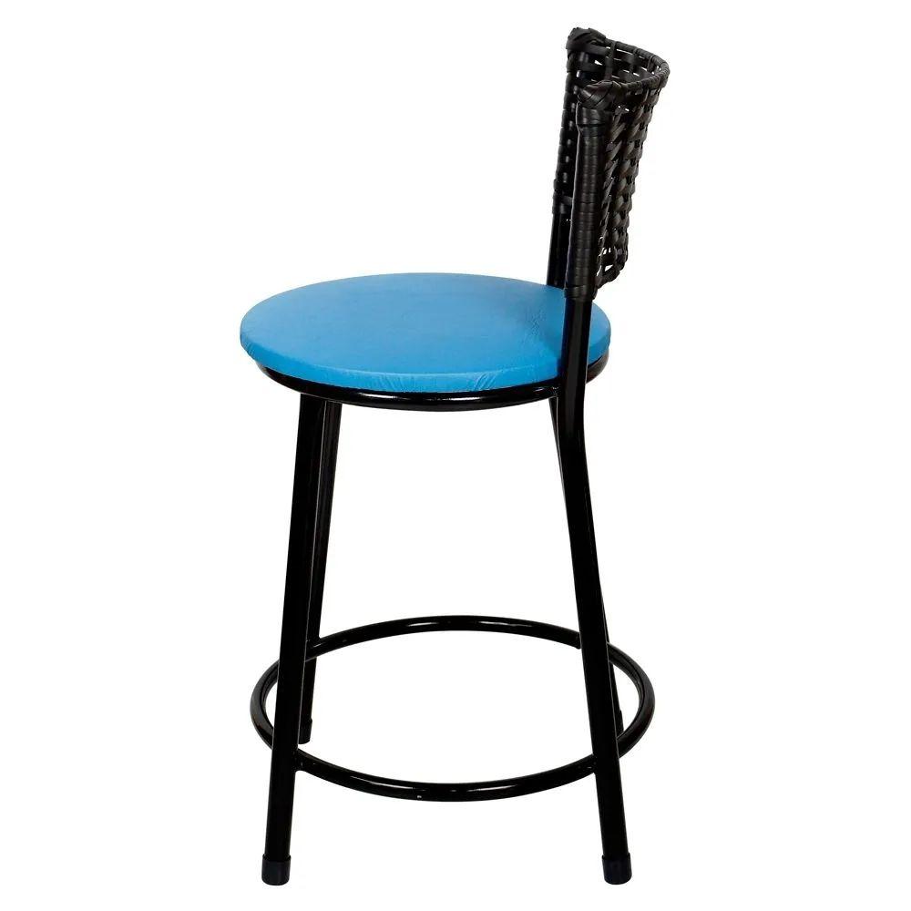 Jogo 4 Banqueta Baixa Para Cozinha Hawai Preto Assento Azul
