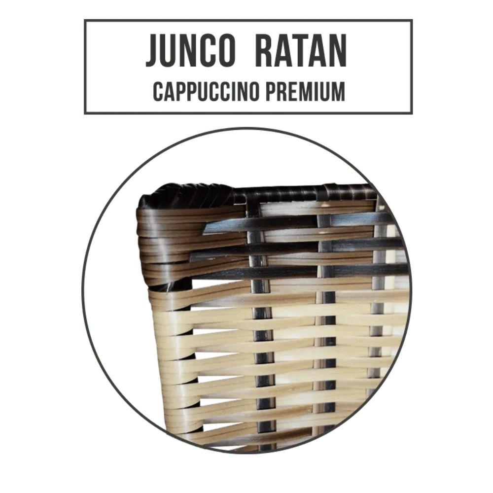 Jogo 4 Banqueta Baixa Ratan Hawai Preta Cappuccino Premium
