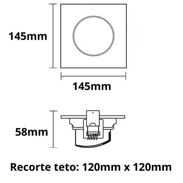 Kit 10 Spot Led Embutir 10w Par30 Quadrado 6500k Branco Frio Bivolt Taschibra