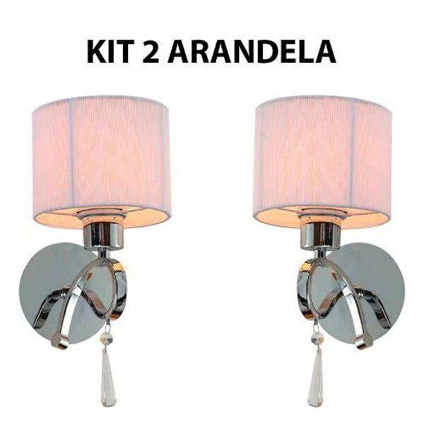 Kit 2 Arandela Parede Cúpula Seda Branco e Cristal Veneza