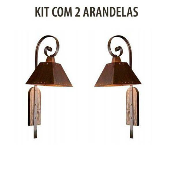 Kit 2 Arandela Rústica Napoli Envelhecida Madelustre