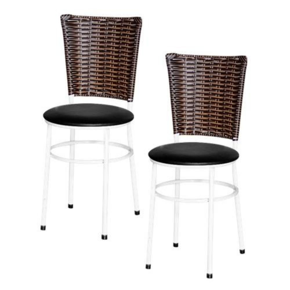 Jogo 2 Cadeiras Para Cozinha Branca Hawai Cappuccino