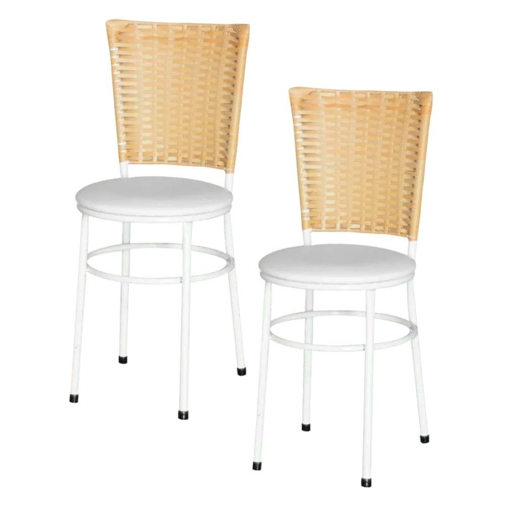 Jogo 2 Cadeiras Para Cozinha Branca Hawai Palha