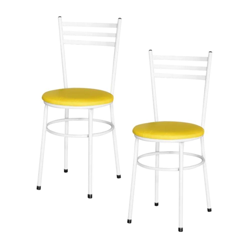 Jogo 2 Cadeiras Para Cozinha Branca Epoxi