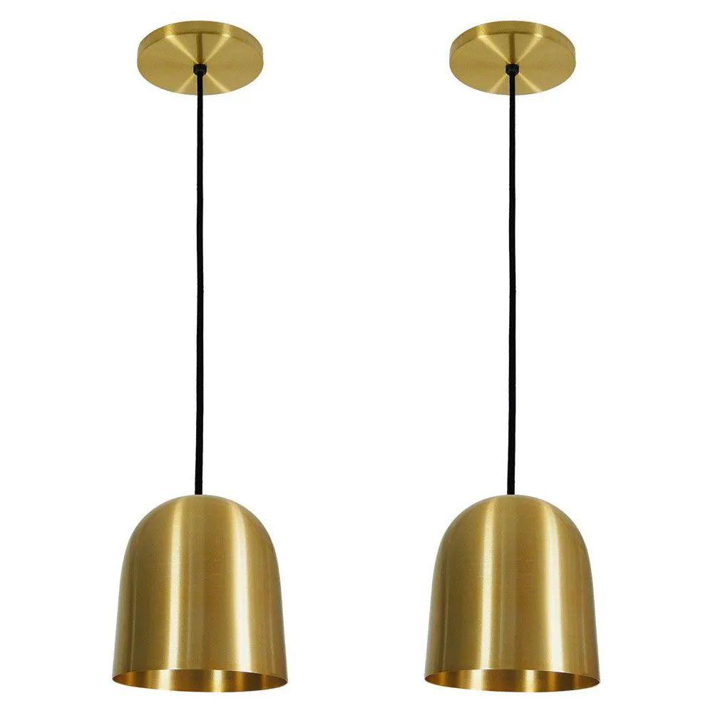 Kit 2 Luminária Pendente 16x14cm Aluminium Dourado - TKS