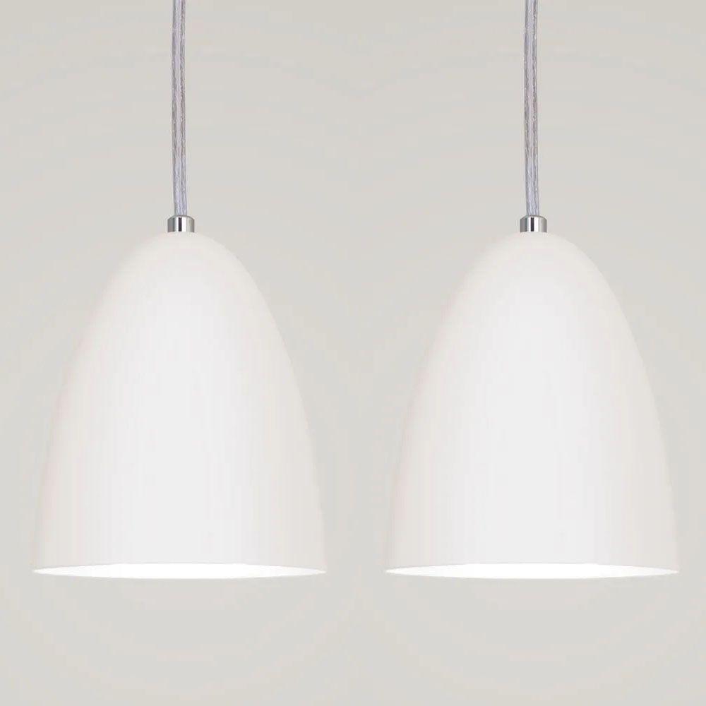 Kit 2 Luminária Pendente Bala 16x13cm Branco Texturizado - TKS