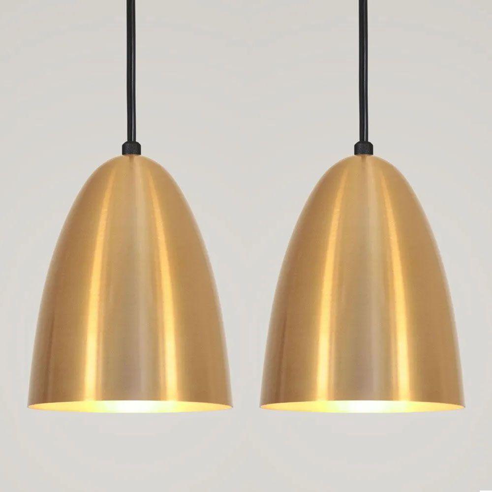 Kit 2 Luminária Pendente Bala 16x13cm Dourado