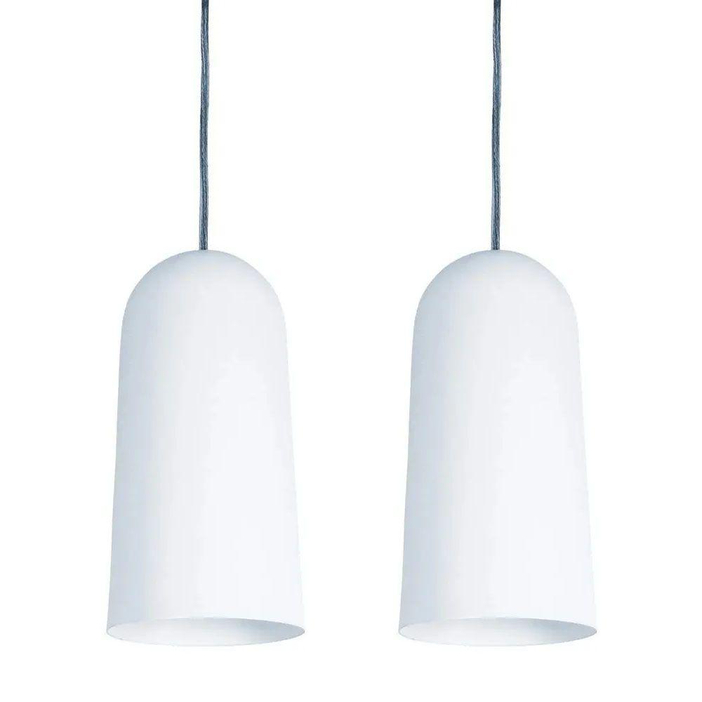 Kit 2 Luminária Pendente Cilíndrico 33x15cm Aluminium Branco