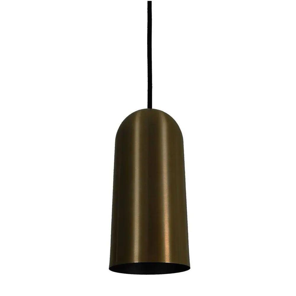 Kit 2 Luminária Pendente Cilíndrico 33x15cm Aluminium Bronze