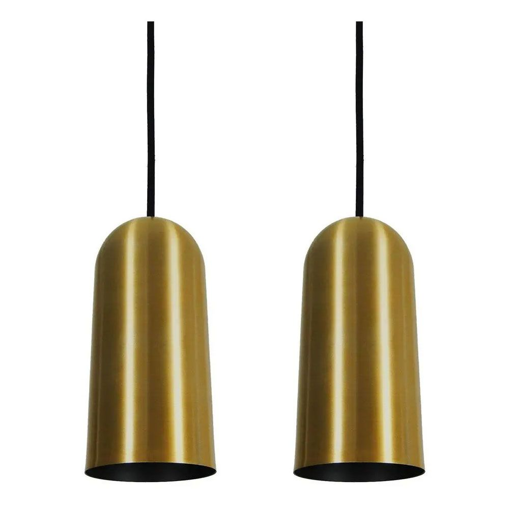 Kit 2 Luminária Pendente Cilíndrico 33x15cm Aluminio Dourado