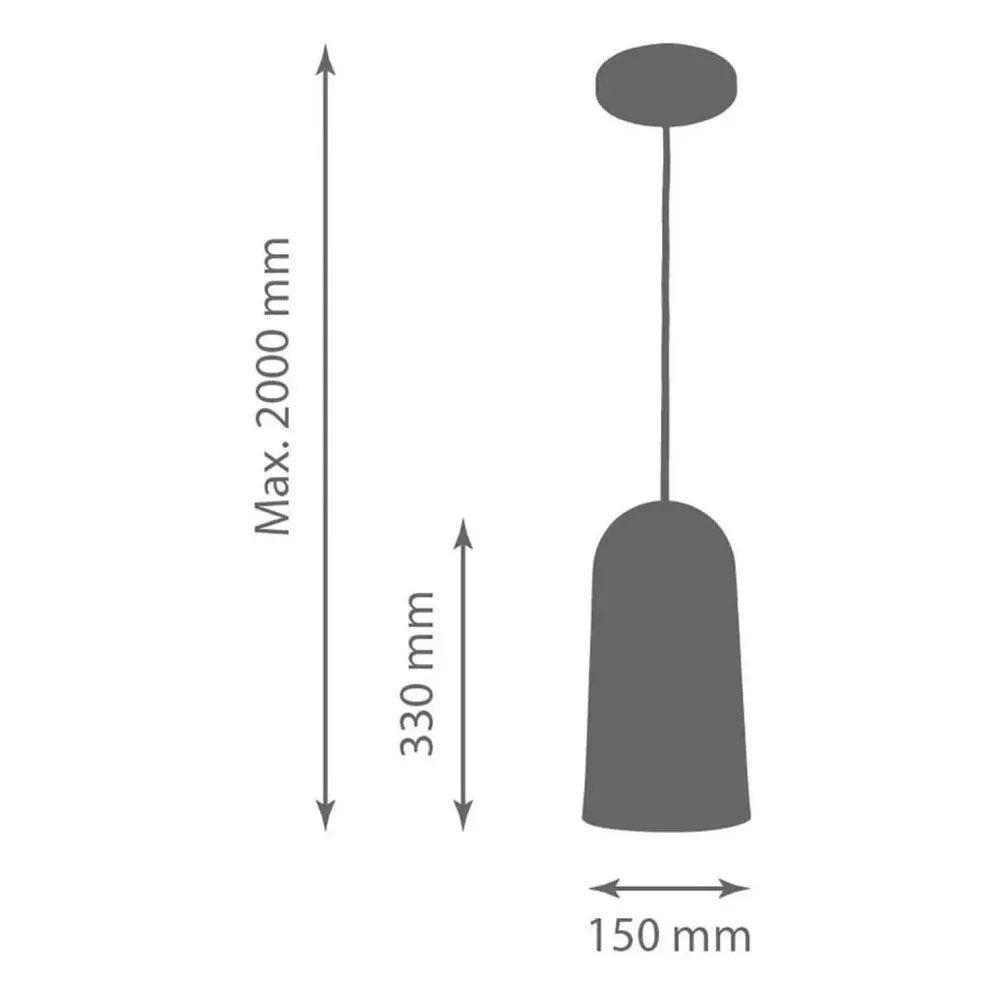Kit 2 Luminária Pendente Cilíndrico 33x15cm Aluminium Preto