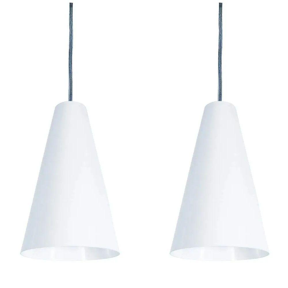 Kit 2 Luminária Pendente Cônico 25x14cm Aluminium Branco