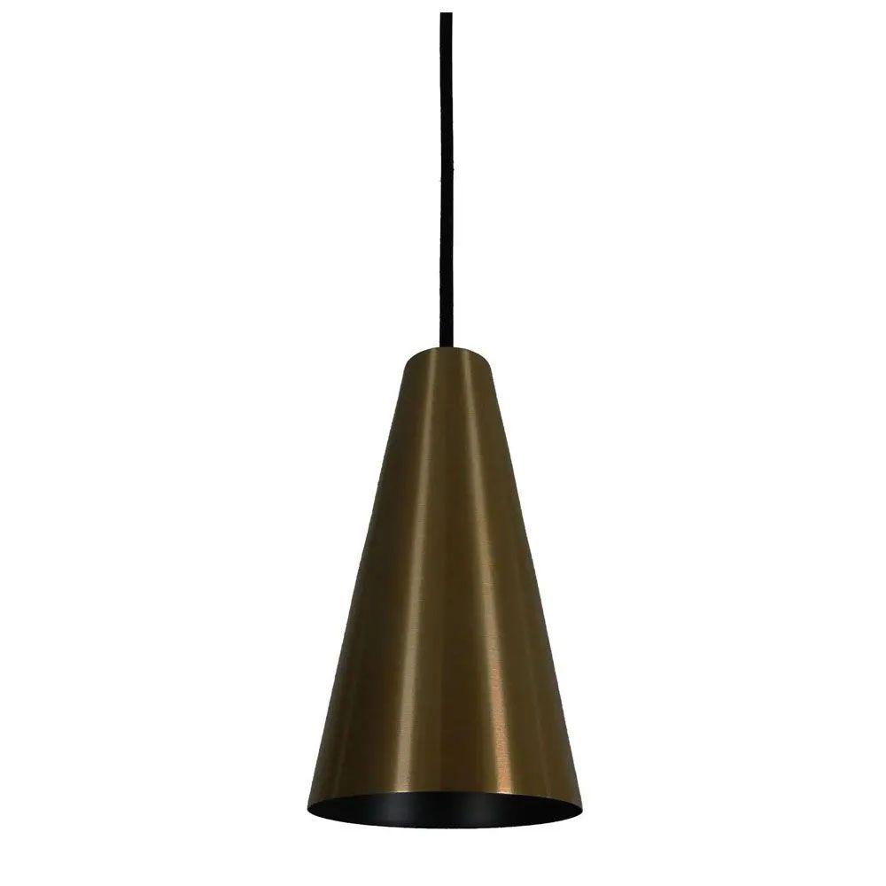 Kit 2 Luminária Pendente Cônico 25x14cm Aluminium Bronze