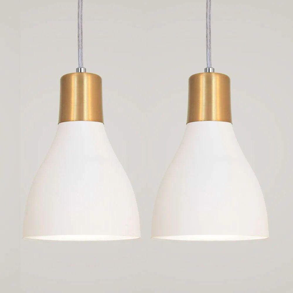 Kit 2 Luminária Pendente Garrafa 20x13.5cm Branco e Dourado
