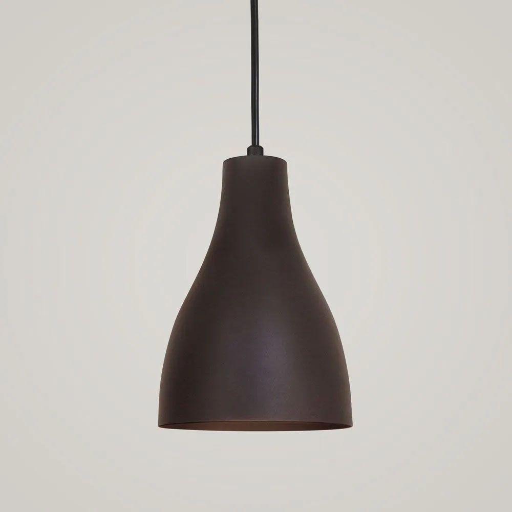 Kit 2 Luminária Pendente Garrafa 20x13.5cm Marrom Corten - TKS