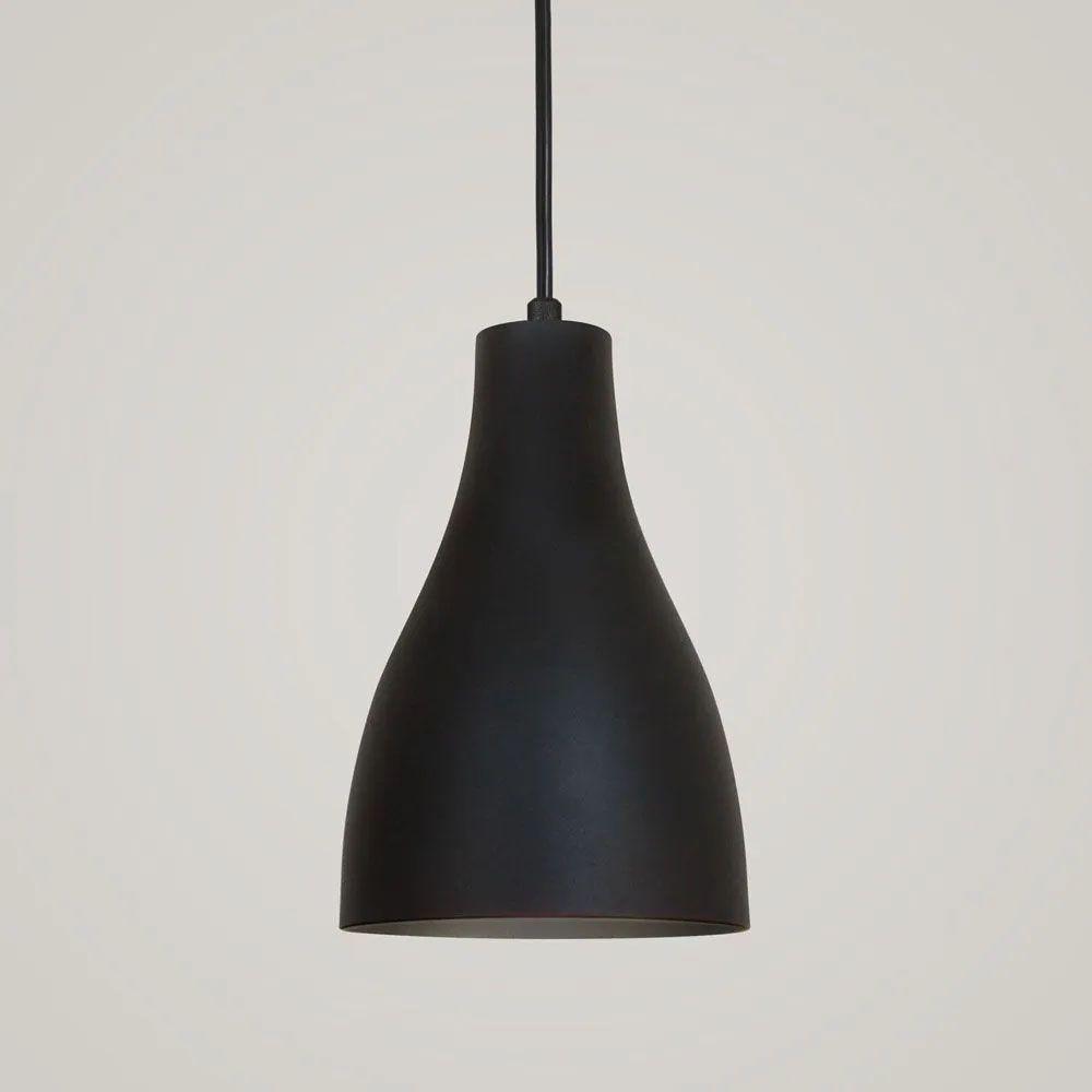 Kit 2 Luminária Pendente Garrafa 20x13.5cm Preto Texturizado