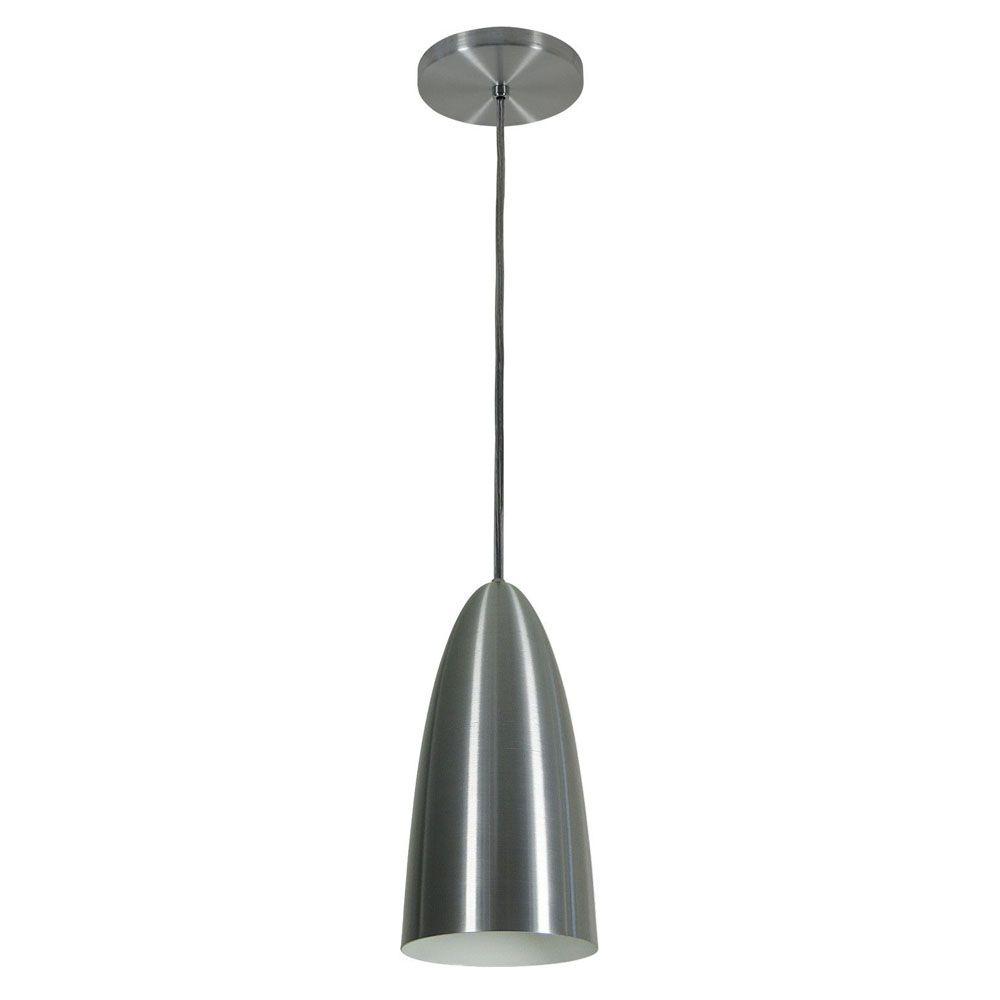 Kit 2 Luminária Pendente Oval 29x13cm Aluminium Escovado