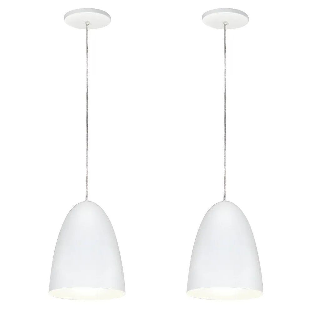 Kit 2 Luminária Pendente Oval 24x18.5cm Aluminium Branco