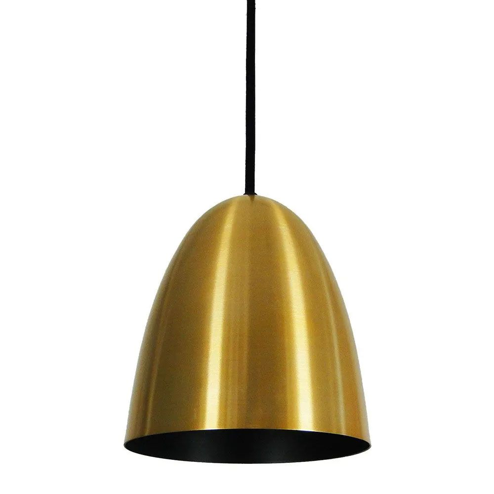 Kit 2 Luminária Pendente Oval 24x18.5cm Aluminium Dourado - TKS