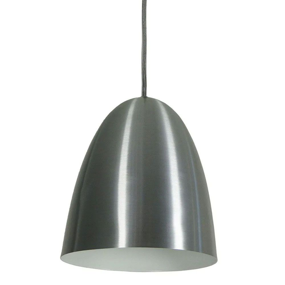 Kit 2 Luminária Pendente Oval 24x18.5cm Aluminium Escovado