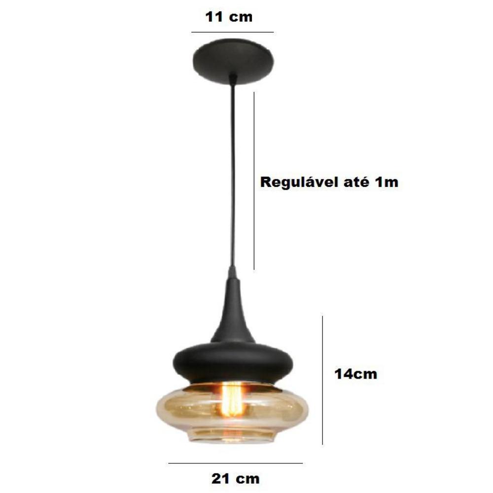 Kit 2 Luminária Pendente Vidro Âmbar 14cm x 21cm E27 Florença