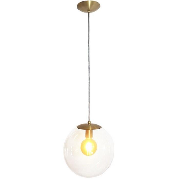 Kit 2 Pendente Redondo Esfera 20cm Dourado e Vidro Cristal Madelustre