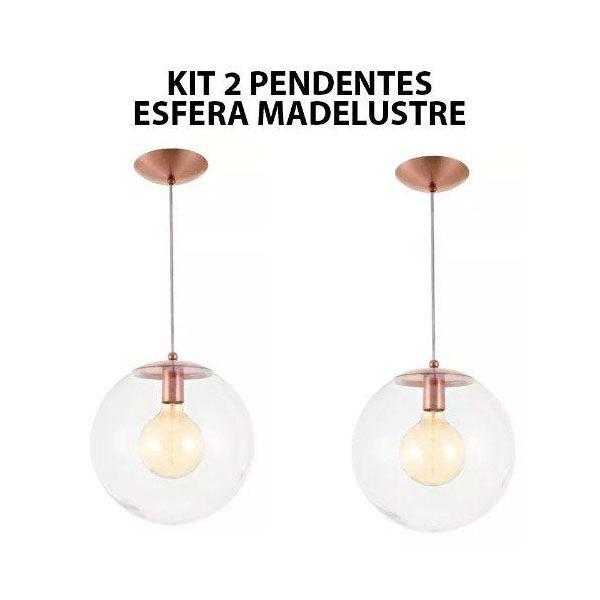 Kit 2 Pendente Redondo Esfera 30cm Vidro Cristal Madelustre