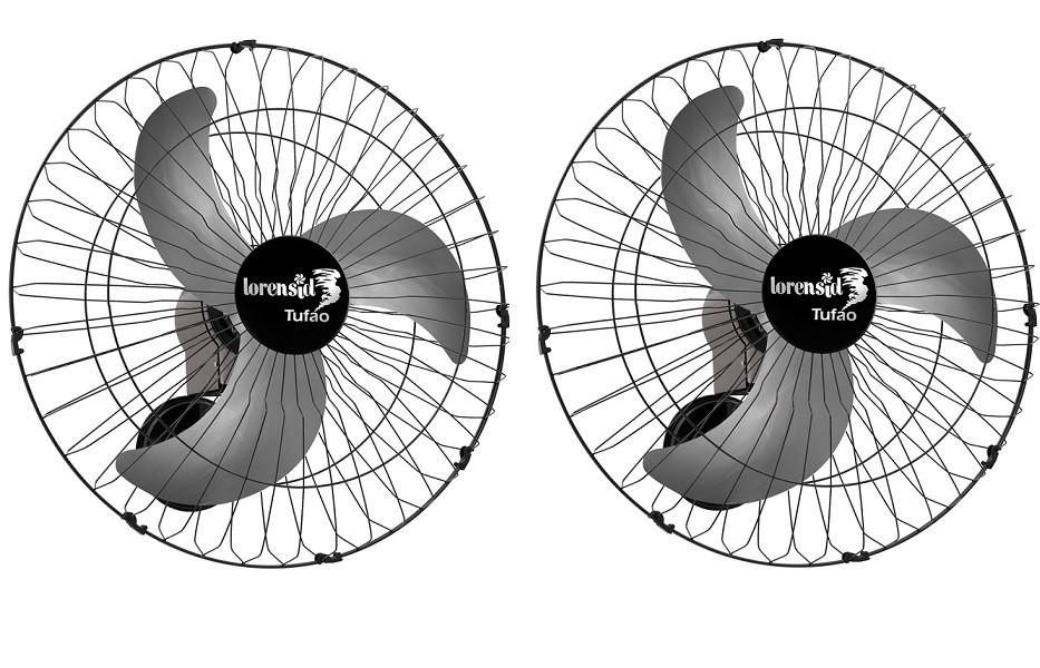 Kit 2 Ventilador De Parede Tufão 60cm Preto Bivolt M2 Loren Sid