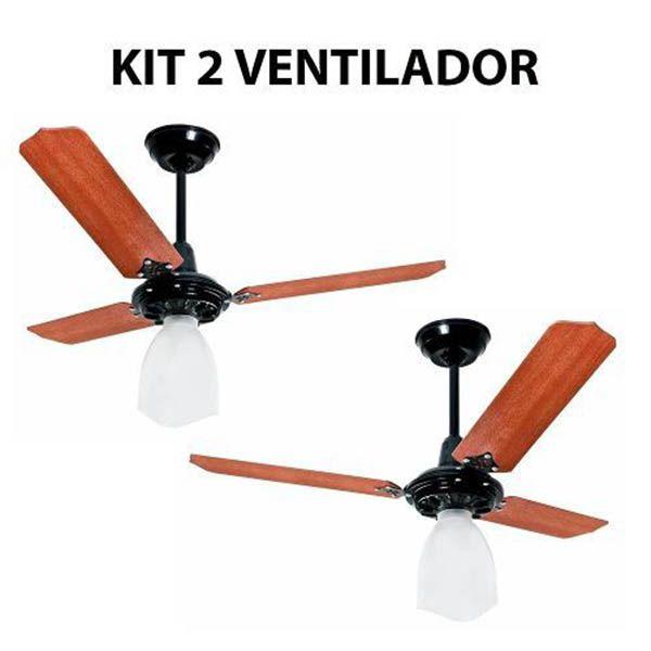 Kit 2 Ventilador De Teto Lumi Preto Pás Mogno Loren Sid