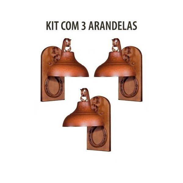 Kit 3 Arandela Rústica Estancia Ferradura Madeira Madelustre