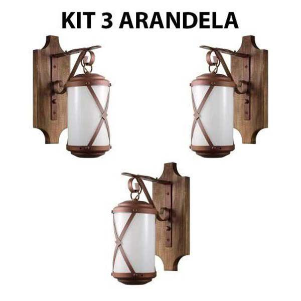 Kit 3 Arandela Rústica Madeira E Metal Império Madelustre
