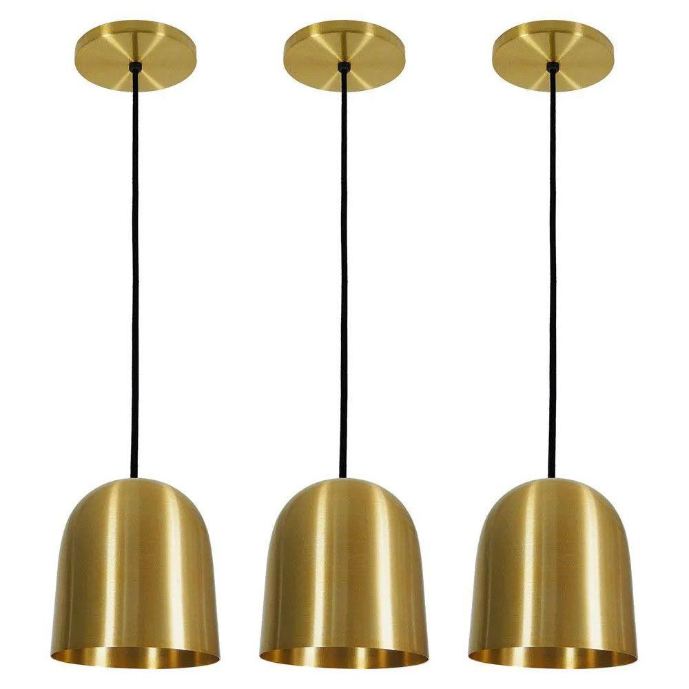 Kit 3 Luminária Pendente 16x14cm Aluminium Dourado - TKS