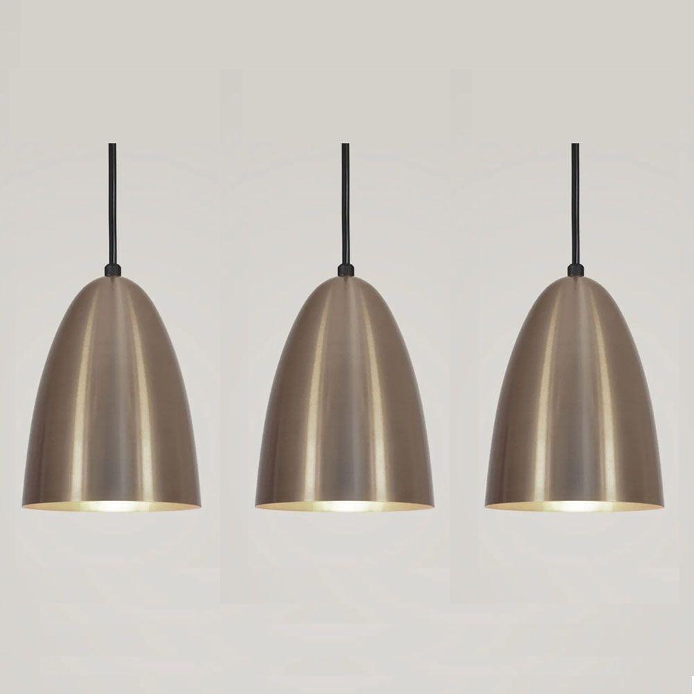 Kit 3 Luminária Pendente Bala 16x13cm Bronze - TKS